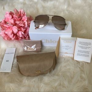 Chloe Accessories - Chloe Isidora Rose Gold Aviator Sunglasses
